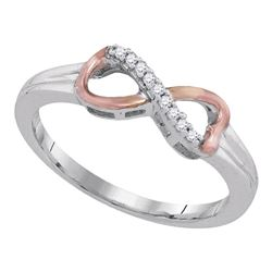 Sterling Silver Round Diamond 2-tone Infinity Ring 1/20 Cttw