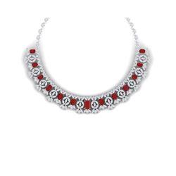 50.44 ctw Ruby & VS Diamond Necklace 18K White Gold