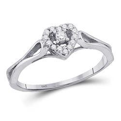 10kt White Gold Round Diamond Heart Promise Bridal Ring 1/10 Cttw
