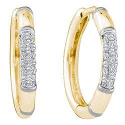 14kt Yellow Gold Round Diamond Cluster Hoop Earrings 1/6 Cttw