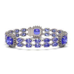 39.4 ctw Tanzanite & Diamond Bracelet 14K White Gold