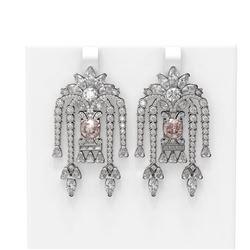15.33 ctw Morganite & Diamond Earrings 18K White Gold