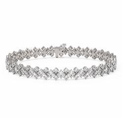 17.5 ctw Princess Diamond Designer Bracelet 18K White Gold