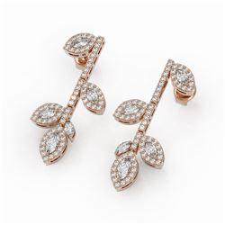 2.57 ctw Marquise Cut Diamond Designer Earrings 18K Rose Gold
