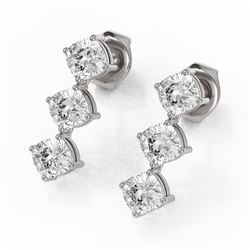 2 ctw Cushion Cut Diamond Designer Earrings 18K White Gold
