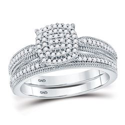 10kt White Gold Round Diamond Milgrain Bridal Wedding Ring Set 1/3 Cttw