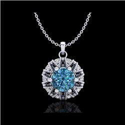1.2 ctw Fancy Intense Blue Diamond Art Deco Necklace 18K White Gold