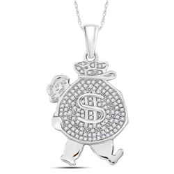 10kt White Gold Mens Round Diamond Money Bag Man Charm Pendant 1/4 Cttw