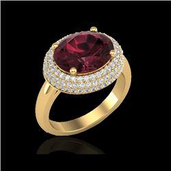 4.50 ctw Garnet & Micro Pave VS/SI Diamond Ring 18K Yellow Gold