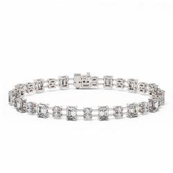 11 ctw Emerald and Marquise Cut Diamond Bracelet 18K White Gold