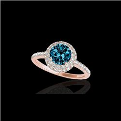 1.6 ctw SI Certified Fancy Blue Diamond Solitaire Halo Ring 10K Rose Gold