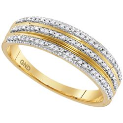 10kt Yellow Gold Round Diamond Striped Band Ring 1/6 Cttw