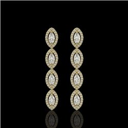 3.84 ctw Marquise Cut Diamond Micro Pave Earrings 18K Yellow Gold