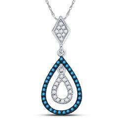 10kt White Gold Round Blue Color Enhanced Diamond Teardrop Pendant 1/5 Cttw