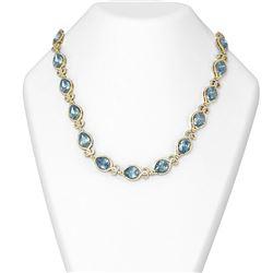 55.63 ctw Blue Topaz & Diamond Necklace 18K Yellow Gold