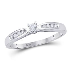 10kt White Gold Round Diamond Solitaire Promise Bridal Ring 1/5 Cttw