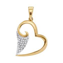 10kt Yellow Gold Round Diamond Scroll Heart Pendant 1/5 Cttw