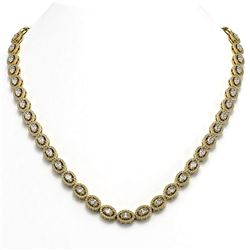 21.69 ctw Oval Cut Diamond Micro Pave Necklace 18K Yellow Gold