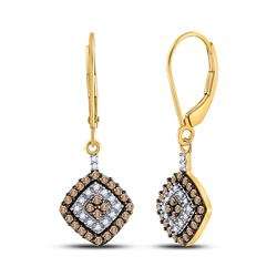 10kt Yellow Gold Round Brown Diamond Square Dangle Earrings 1/2 Cttw