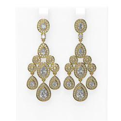 7.24 ctw Pear & Oval Diamond Earrings 18K Yellow Gold