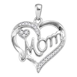 Sterling Silver Round Diamond Mom Mother Heart Pendant 1/10 Cttw