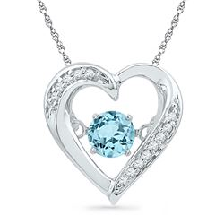 Sterling Silver Round Lab-Created Blue Topaz Moving Twinkle Solitaire Heart Pendant 1/3 Cttw