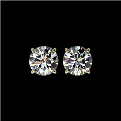2.55 ctw Certified Quality Diamond Stud Earrings 10K Yellow Gold
