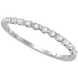 10kt White Gold Round Diamond Single Row Stackable Band Ring 1/6 Cttw