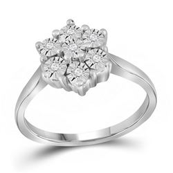Sterling Silver Round Diamond Illusion-set Flower Cluster Ring 1/10 Cttw