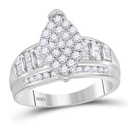 10kt White Gold Round Diamond Marquise-shape Cluster Bridal Wedding Engagement Ring 1.00 Cttw