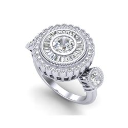 2.62 ctw VS/SI Diamond Solitaire Art Deco 3 Stone Ring 18K White Gold