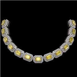 110.45 ctw Canary Citrine & Diamond Victorian Necklace 14K White Gold