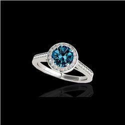 1.33 ctw SI Certified Fancy Blue Diamond Halo Ring 10K White Gold