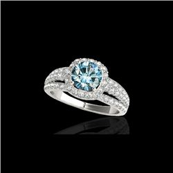 2.25 ctw SI Certified Fancy Blue Diamond Halo Ring 10K White Gold