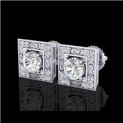 1.63 ctw VS/SI Diamond Solitaire Art Deco Stud Earrings 18K White Gold