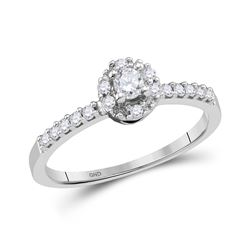 14kt White Gold Round Diamond Solitaire Promise Bridal Ring 1/4 Cttw