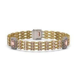 26.13 ctw Morganite & Diamond Bracelet 14K Yellow Gold