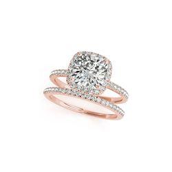 1.51 ctw Certified VS/SI Cushion Diamond 2pc Set Ring Halo 14K Rose Gold