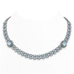37.66 ctw Sky Topaz & Diamond Necklace 14K White Gold