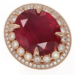 29.04 ctw Certified Ruby & Diamond Victorian Ring 14K Rose Gold