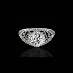 1.22 ctw Certified Diamond Solitaire Halo Ring 10K White Gold