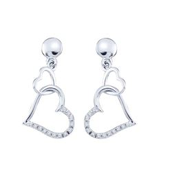 10kt White Gold Round Diamond Linked Hearts Dangle Screwback Earrings 1/10 Cttw