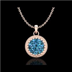 1 ctw Intense Blue Diamond Art Deco Stud Necklace 18K Rose Gold