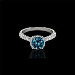 1.50 ctw SI Certified Fancy Blue Diamond Solitaire Halo Ring 10K White Gold