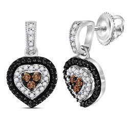 Sterling Silver Round Black Color Enhanced Diamond Heart Dangle Earrings 1/2 Cttw
