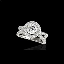 2.01 ctw Certified Diamond Solitaire Halo Ring 10K White Gold