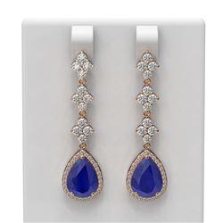 9.82 ctw Sapphire & Diamond Earrings 18K Rose Gold