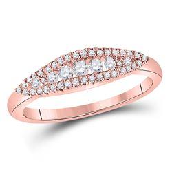 14kt Rose Gold Round Diamond Modern Anniversary Band Ring 3/8 Cttw