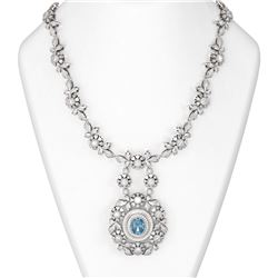 22.97 ctw Aquamarine & Diamond Necklace 18K White Gold