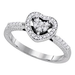 10kt White Gold Round Diamond Simple Heart Halo Ring 1/4 Cttw